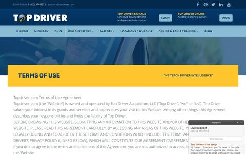 Screenshot of Terms Page topdriver.com - Terms of Use - Top Driver Driving School - captured Dec. 15, 2016