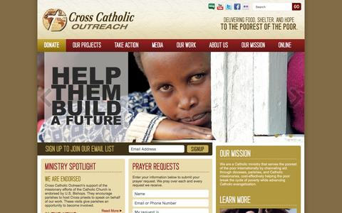 Screenshot of Home Page crosscatholic.org - Cross Catholic Outreach - captured Sept. 17, 2015