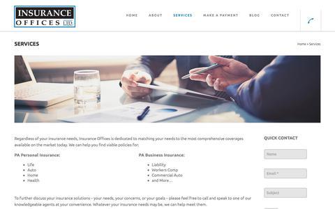 Screenshot of Services Page insuranceofficesltd.com - Personal Insurance Services PA | Insurance Offices Ltd - captured Sept. 19, 2018