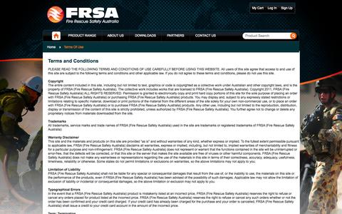 Screenshot of Terms Page frsa.com.au - Terms Of Use Fire and Rescue - captured Oct. 6, 2014