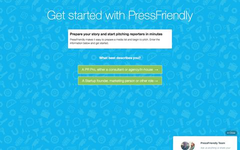 Screenshot of Signup Page pressfriendly.com - Get started free with PressFriendly | PressFriendly - captured Dec. 8, 2015