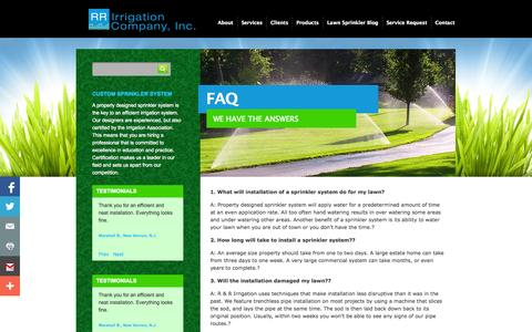 Screenshot of FAQ Page rrirrigation.com - RR Irrigation  » FAQ - captured Sept. 19, 2014