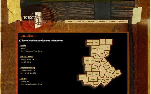 Screenshot of Locations Page keg1llc.com - KEG 1, LLC : LOCATIONS - captured Oct. 27, 2014