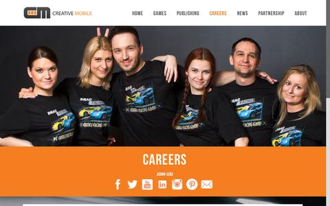 Screenshot of Jobs Page creative-mobile.com - Careers at Creative Mobile Games - captured Oct. 1, 2015