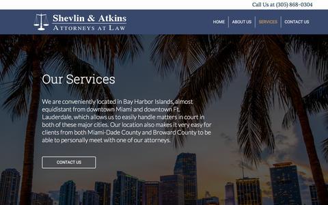 Screenshot of Services Page shevlinatkins.com - Services – Shevlin & Atkins Attorneys at Law - captured Sept. 21, 2018