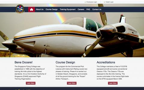 Screenshot of Home Page sfcpl.com - Singapore Flying College - captured Oct. 7, 2014