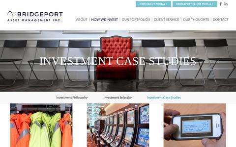 Screenshot of Case Studies Page bridgeportasset.com - Investment Case Studies - Bridgeport Asset Management - captured Oct. 6, 2018
