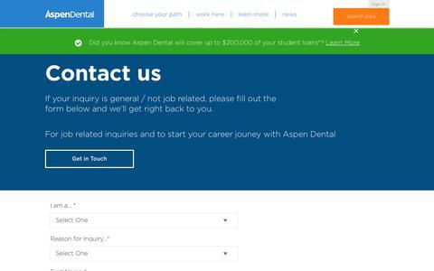 Screenshot of Contact Page aspendentaljobs.com - Contact Us | Aspen Dental Jobs - captured Feb. 22, 2020