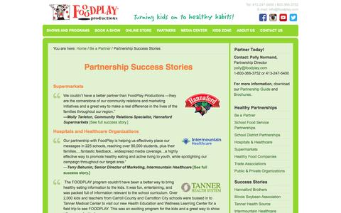 Screenshot of Case Studies Page foodplay.com - Partnership Success Stories | FoodPlay Productions - captured Nov. 25, 2016