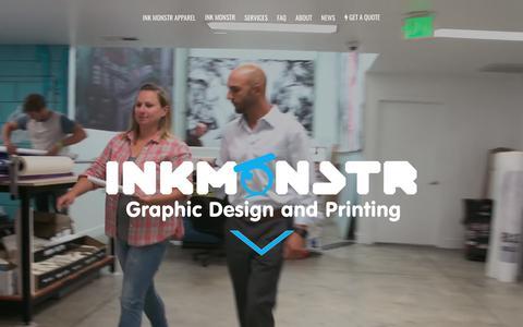 Screenshot of Home Page inkmonstr.com - Ink Monstr - Graphic Design, Print and Installation Services - captured June 7, 2017