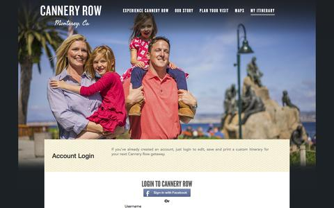 Screenshot of Login Page canneryrow.com - Cannery Row - captured Sept. 23, 2018