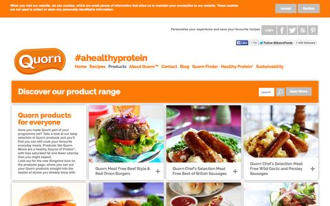 Screenshot of Products Page quorn.co.uk - Quorn Food - Browse the Product Range and Make One Change - captured Sept. 19, 2014