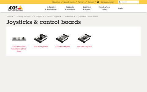 Screenshot of axis.com - Joysticks & control boards | Axis Communications - captured Aug. 10, 2017