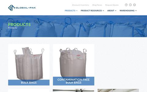 Screenshot of Products Page global-pak.com - Products - captured Nov. 7, 2019