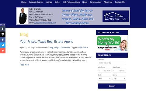 Screenshot of Blog kirbychandler.com - Your Frisco, Texas Real Estate Agent | Kirby Chandler | Real Estate Agent | Frisco, TX Homes For Sale - captured June 17, 2016