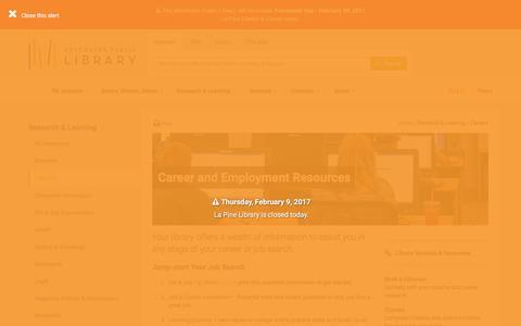 Screenshot of Jobs Page deschuteslibrary.org - Careers - Deschutes Public Library - captured Feb. 9, 2017