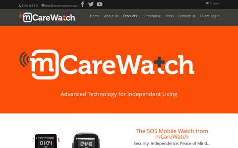 Screenshot of Products Page mcarewatch.com.au - mCareWatch Products | Wearable Technology for Elderly Care - captured Feb. 16, 2016