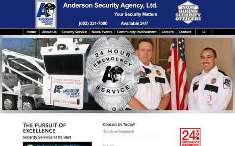 Screenshot of Home Page andersonsecurity.com - Anderson Security Agency - Phoenix, AZ - captured Feb. 6, 2016