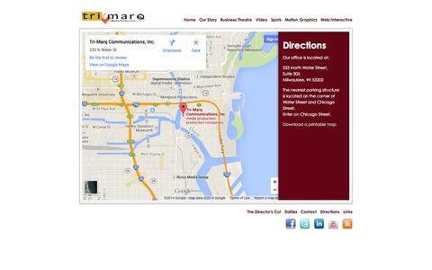 Screenshot of Maps & Directions Page trimarq.com - Directions | Tri-Marq : A Media Production Company - captured Oct. 7, 2014