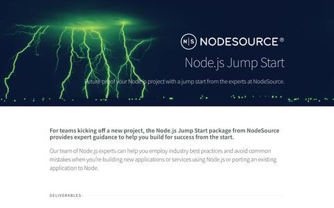 Screenshot of Landing Page nodesource.com - Node.js Consulting - Jump Start - captured April 9, 2018