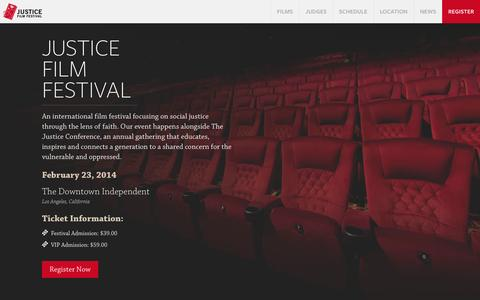 Screenshot of Home Page justicefilmfest.com - Justice Film Festival   February 23, 2014   Los Angeles, CA - captured Oct. 6, 2014