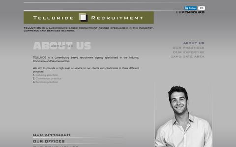 Screenshot of About Page telluride-search.com - TELLURIDE RECRUITMENT- About us - Industry practice, Commerce practice, Services practice - captured Nov. 7, 2017