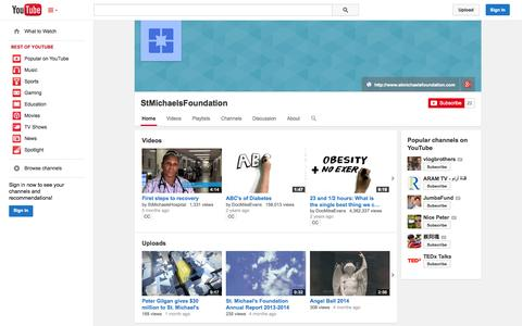 Screenshot of YouTube Page youtube.com - StMichaelsFoundation  - YouTube - captured Oct. 26, 2014