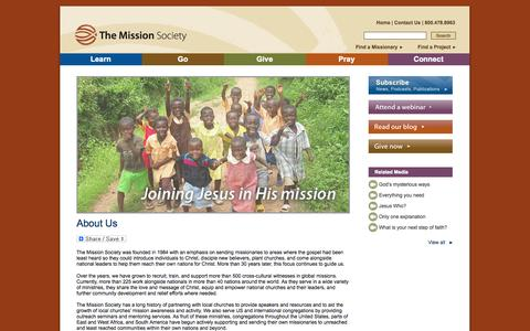 Screenshot of About Page themissionsociety.org - About Us - captured Sept. 30, 2014