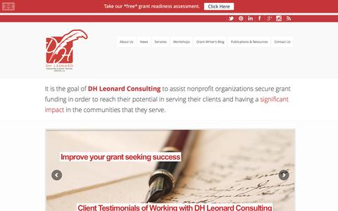 Screenshot of Home Page dhleonardconsulting.com - Grant Writing and Consulting Services| DH Leonard Consulting - captured Feb. 8, 2016