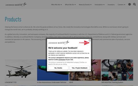 Screenshot of Products Page lockheedmartin.com - All Lockheed Martin Products | Lockheed Martin - captured Jan. 11, 2020