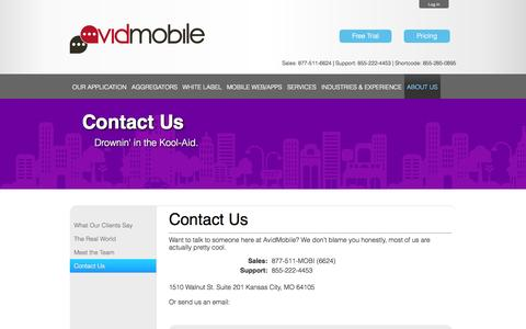 Screenshot of Contact Page avidmobile.com - AvidMobile | AvidMobile Mobile Marketing | Contact Us - captured Sept. 23, 2014