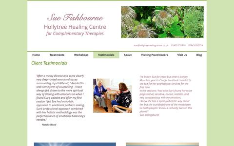 Screenshot of Testimonials Page hollytreehealing.co.uk - hollytreehealing | Testimonials - captured Nov. 11, 2016