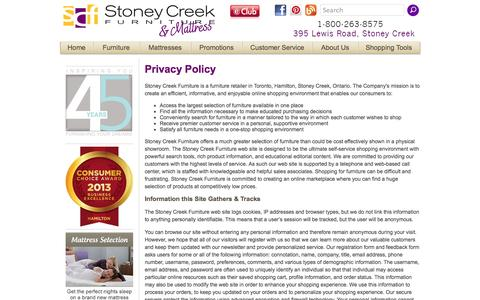 Screenshot of Privacy Page stoneycreekfurniture.com - Privacy Policy - Stoney Creek Furniture  - Toronto, Hamilton, Stoney Creek, Ontario Furniture Store - captured Sept. 19, 2014