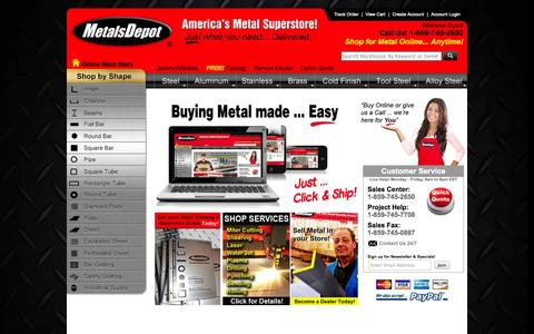 Screenshot of Home Page metalsdepot.com - Metals Depot® - Buy Metal Online! Steel, Aluminum, Stainless, Brass - captured Sept. 24, 2014
