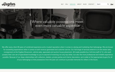 Screenshot of Services Page hughesestatesales.com - Estate Sale Services Los Angeles - Hughes Estate Sales - captured Oct. 28, 2014