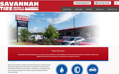 Screenshot of Services Page savannahtire.com - Auto Services and Repairs - captured Dec. 22, 2015