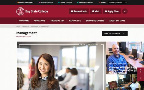 Screenshot of Team Page baystate.edu - Management Bachelor's Degree · Bay State College - captured Oct. 10, 2017