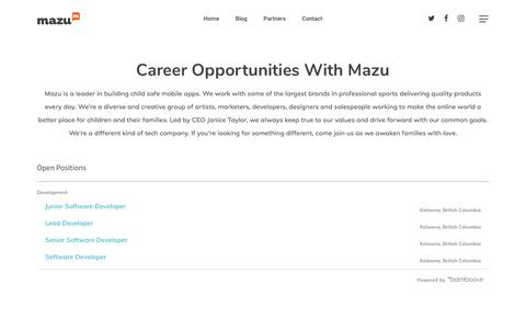 Screenshot of Jobs Page mazufamily.com - Careers | Mazu - captured July 13, 2018