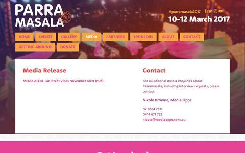 Screenshot of Press Page parramasala.com - Media — Parramasala - captured May 14, 2017