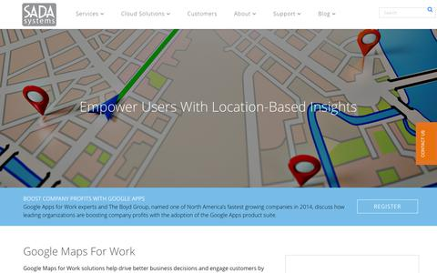 Screenshot of Maps & Directions Page sadasystems.com - Google Maps for Work | SADA Systems - captured Nov. 25, 2015