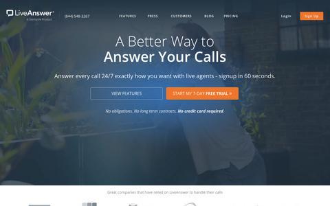 Screenshot of Home Page liveanswer.com - LiveAnswer - 24/7 Business Phone Support - captured Nov. 14, 2017