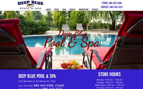 Screenshot of Home Page deepbluepoolandspa.com - Local Swimming Pools & Hot Tubs | Batavia, NY | Deep Blue Pool & Spa - captured Aug. 6, 2018