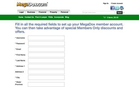 Screenshot of Signup Page megadox.com - Set Up Your MegaDox Account - captured Feb. 12, 2016