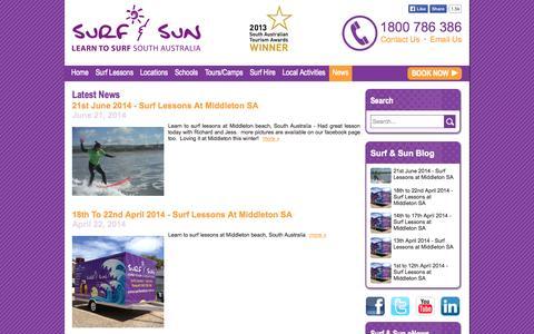 Screenshot of Blog Press Page surfandsun.com.au - Latest News - Surf & Sun - captured Oct. 26, 2014
