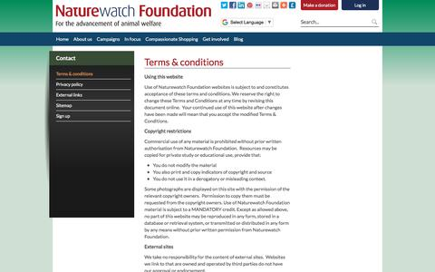 Screenshot of Terms Page naturewatch.org - Terms & conditions - Naturewatch - captured Nov. 5, 2017