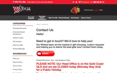 Screenshot of Contact Page wickedberries.com.au - Contact Us - captured Aug. 17, 2016