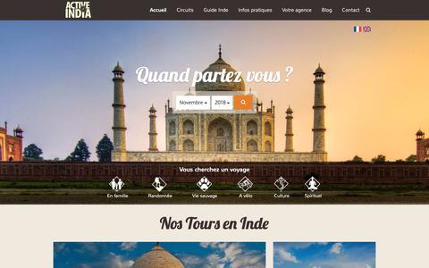Screenshot of Home Page voyageinde.fr - Voyage Inde - Agence de voyage en Inde - captured Oct. 29, 2018