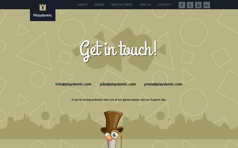 Screenshot of Contact Page playdemic.com - Playdemic   Contact Us - captured Oct. 31, 2014