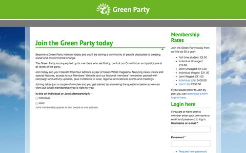 Screenshot of Signup Page greenparty.org.uk - Join the Green Party today | Green Party Members' Website - captured Sept. 25, 2014