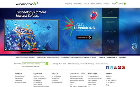 Screenshot of Home Page Privacy Page Contact Page Products Page Jobs Page FAQ Page Site Map Page Support Page Team Page videoconworld.com - TVs, Refrigerators, ACs, Washing Machines, Home Appliances | Videocon India - captured Oct. 7, 2015